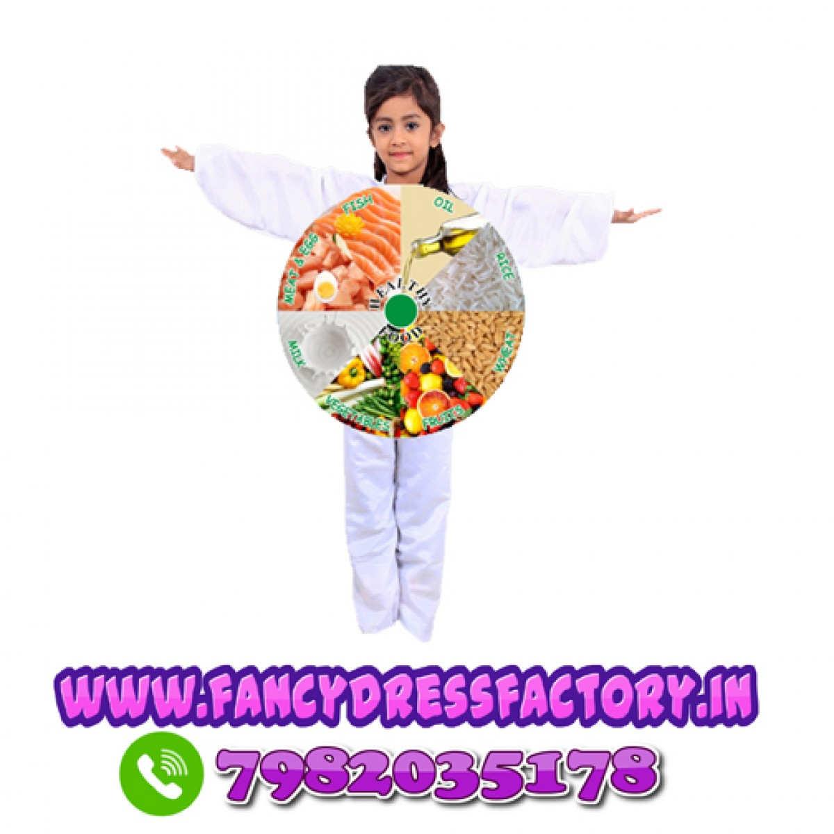 Eat Healthy Food Fancy Dress Costume